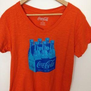 Coca Cola Women XL Orange Blue V-Neck T-Shirt